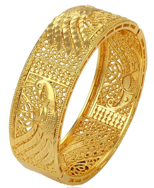 Gold Plated Peacock Bangle