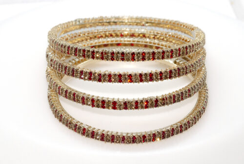 Gold Bangles-Ruby Rhinestones