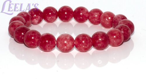 NATURAL GEMSTONE BRACELET-RUBY, Rodonite