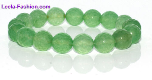 NATURAL GEMSTONE BRACELET-GREEN, Aventurine Faceted