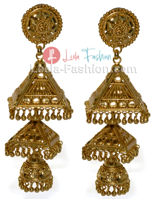 Gold Plated Drop Earring Triangle Dome (Jhumka)
